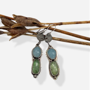 Caribbean Colors Kyanite and Aquamarine Dangle Earrings by Susan Wachler Jewelery