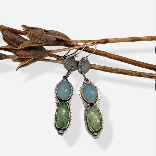 Caribbean Colors Kyanite and Aquamarine Dangle Earrings by Susan Wachler Jewelery