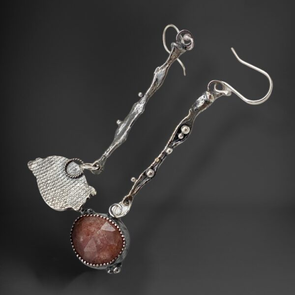 Strawberry Quartz Silver and Gold Gemstone Earrings by Susan Wachler Jewelry