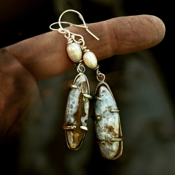 Rustic Hemimorphite and Pearl earrings by Susan Wachler Jewelry