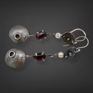 Modern Pearls Garnet and Pearl Earrings by Susan Wachler Jewelry