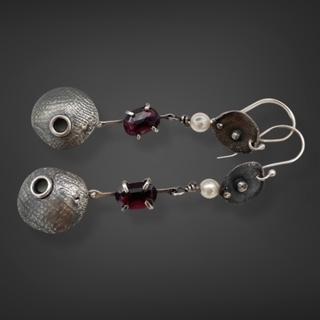 Modern Pearls Garnet and Pearl Earrings by Susan Wachler Jewelry