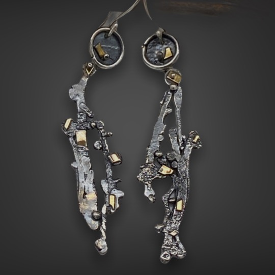 Sculptural Connections Silver and Gold Earrings by Susan Wachler Jewelry