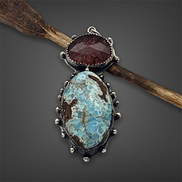 Beautiful Colors Blue Hemimorphite and Red Strawberry Quartz Silver Pendant by Susan Wachler Jewelry