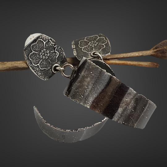 Floral Hoops Silver Hoop earrings by Susan Wachler Jewelry