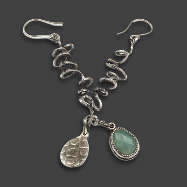 Chalcedony Skwigglers Silver Chalcedony Earrings by Susan Wachler Jewelry