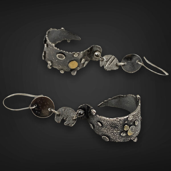 Textured Hoops Gold and Silver Earrings by Susan Wachler Jewelry