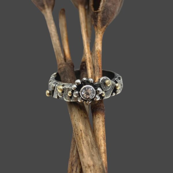 Modern Gold Silver and Topaz Flower Ring by Susan Wachler Jewelry