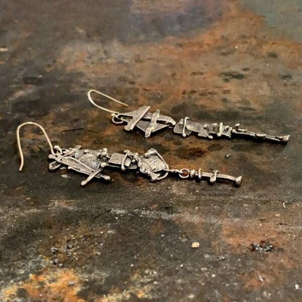 Sculptural Dangles Sterling Silver Earrings by Susan Wachler Jewelry