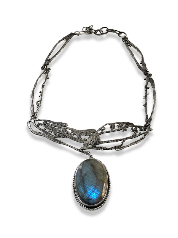 Labradorite Connections Silver Statement Necklace by Susan Wachler Jewelry